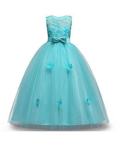 Kid Girls Flower Party Sequins Wedding Bridesmaid Princess Tank Dress Ball Gown