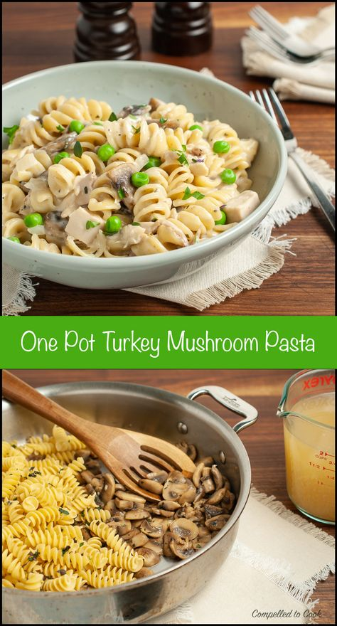 Get ready for the inevitable week of turkey leftovers with this creamy and delicious One Pot Turkey Mushroom Pasta. It will gobble up 2 cups of leftover turkey while being quick, easy and perfect for the whole family. #onepotdinner #onepotmeal #turkeyleftovers #turkey #leftoverdinner #pasta #mushrooms #musrhoompasta #quickandeasydinner #weeknightdinner #rotinipasta #creamypasta #leftoverturkey #food #foodblog #compelledtocook #familymeal #dinnertime #kidfriendlyfood