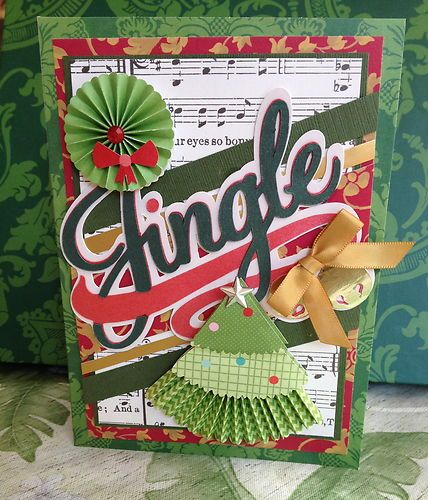 """Handmade Anna Griffin Holiday Trimmings Vintage """"Jingle"""" Greeting Card"""