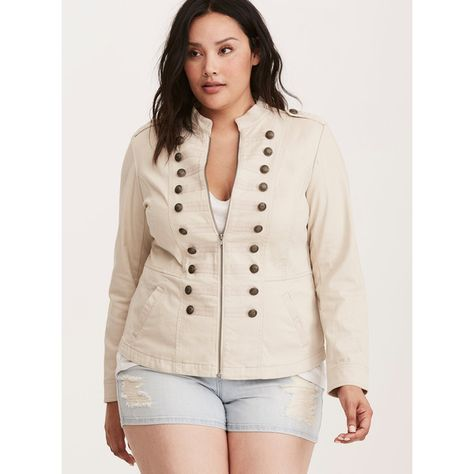Plus Size Denim Twill One Button Blazer