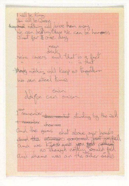 Manuscrito De Heroes David Bowie David Bowie Bowie História Da Música