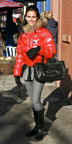 ... red moncler jacket shiny ski outfits pinterest moncler ski outfits and puffy jacket