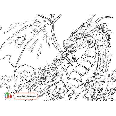 Fire Breathing Dragon The Art Sherpa Dragon Coloring Page Art