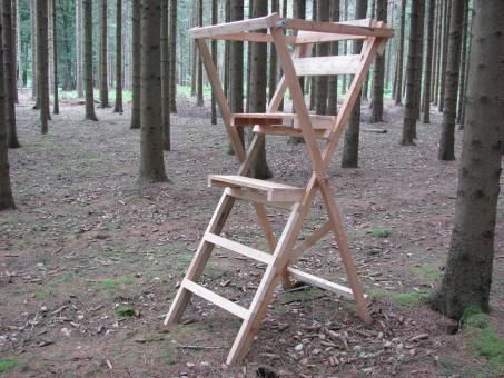 """Holz Scherenleiter /""""Waidmannsheil/"""" Made in Germany Ansitzbock Drückjagd Bausatz"""