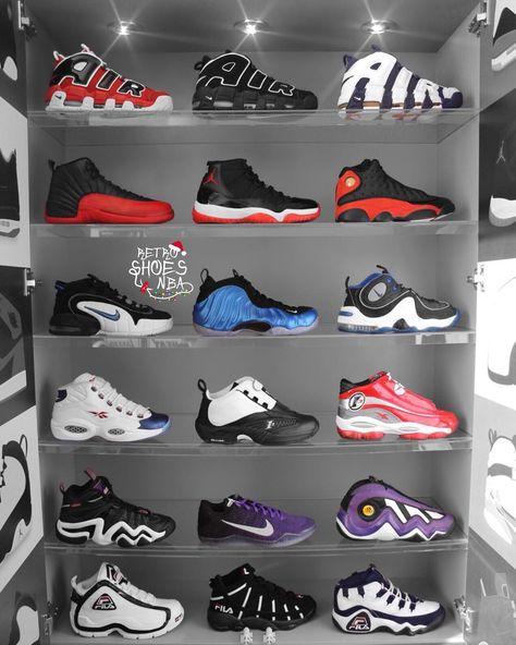 "(@retroshoesnba) on Instagram: ""Pippen's, Jordan's, Penny's, Iverson's, Kobe's or Fila's? #JordanAddict #KicksOnFire #KickFeed…"""