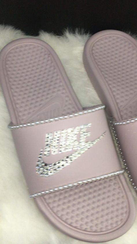 Fab custom slides! Only at www.crystalsbynicole.com #Nike #NikeSlides #Nikey #Pearls #PearlsSlides #BedazzledSlides #BlingSlides #Pink #PinkSlides