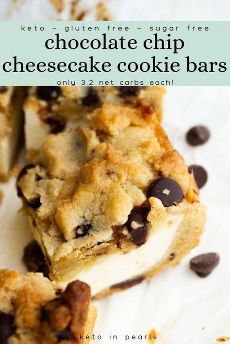 Keto Chocolate Chip Cookies, Sugar Free Chocolate Chips, Keto Cookies, Cookies Et Biscuits, Chocolate Recipes, Chocolate Chip Cheesecake Bars, Keto Friendly Desserts, Low Carb Desserts, Low Carb Recipes
