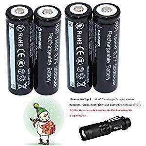 4 LED-Taschenlampe Kit Pack 18650 3.7V Wiederaufladbare Akku Li-ion Batterie