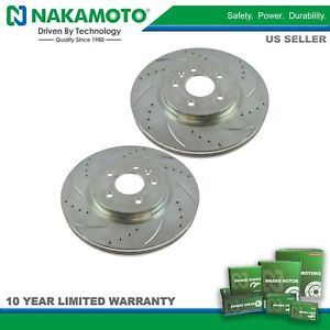 Nakamoto Performance Brake Rotor Drilled Slotted Zinc Coated Front Pair for Ford