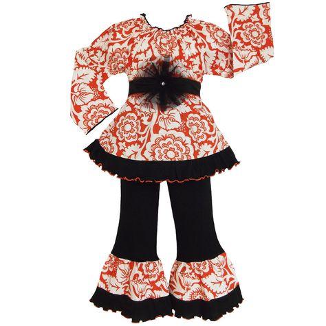 AnnLoren Girls Orange Blossom Shirt & Pants Clothing Outfit 2/3T-9/10 #AnnLoren #Dressy