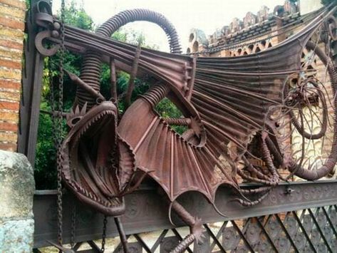 Modern Gargoyles are not just on buildings. This dragon gargoyle on a gate was designed by Antoni Gaudí – in Barcelona.