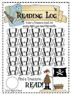 "Reading log-Instead of just having these for ""every night you read this month"", I would also give charts so that students can color in chests for each book of a certain genre they read or books by a certain author. By keeping track of their reading over long period of time, students can see how they are changing as readers and can easily set goals for themselves."