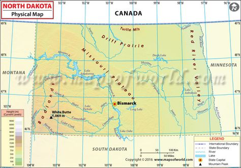 Physical Map of North Dakota | Map, North dakota, Physics