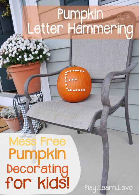 Mess Free Monogram Pumpkin : Fine Motor Letter Formation Activity for Preschoolers and Toddlers
