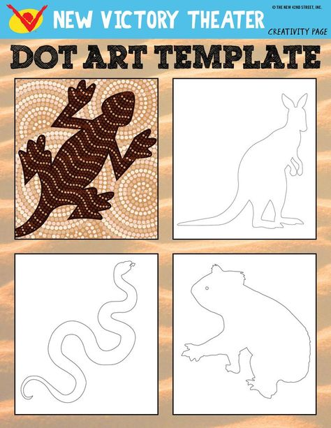 Support pour peinture aborigène avec jeunes enfants - Learn about traditional Aboriginal art and try it out yourself with this printable worksheet inspired by SALTBUSH at the