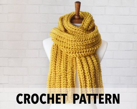 Crochet Pattern Chunky Knit Scarf Long Fall Fashion Scarf