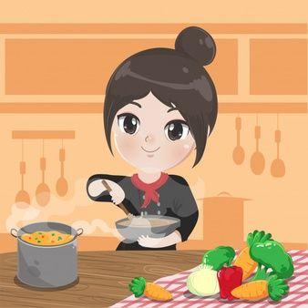 Chef Chica Esta Cocinando Y Sonrie En La Cocina Vector Premium Ninos Cocinando Cocinar Dibujo Chef