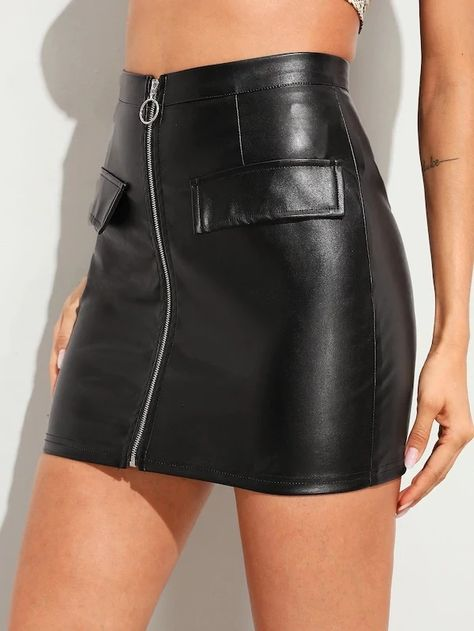 O-Ring Zip Front PU Skirt – GaGodeal
