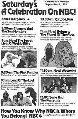 Saturday morning cartoons, back in the day