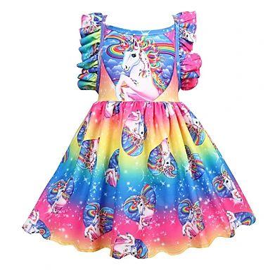 Kids Little Girls' Dress Unicorn Rainbow Jacquard Christmas Mesh Patchwork Gold Silver Rainbow Knee-length Sleeveless Flower Cute Sweet Dresses Halloween Regular Fit 2021 - US $23.91
