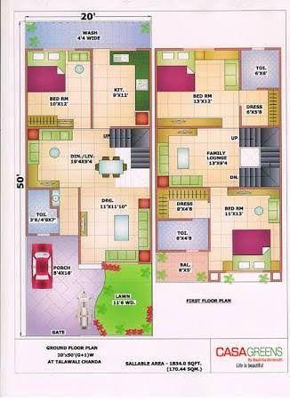 House Plan 20 X 50 Sq Ft Google Search Duplex House Plans 20x40 House Plans Model House Plan