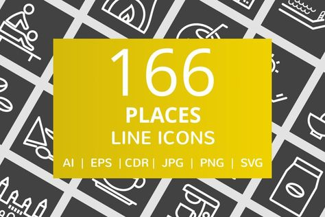 166 Places Line Inverted Icons (134116)   Icons   Design Bundles
