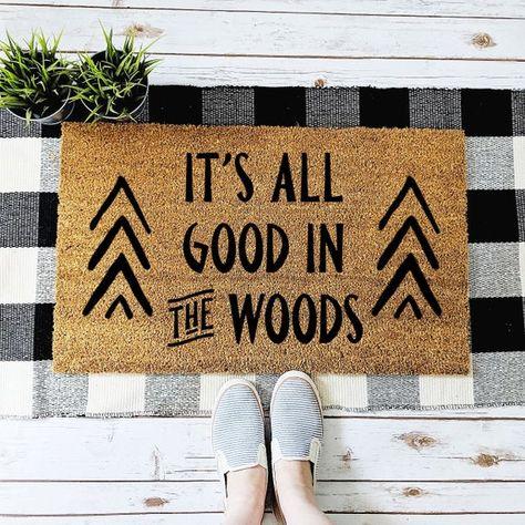 Cabin Doormat, It's All Good in the Woods Welcome Mat, Camper Doormat, Rustic Cabin Decor, Housewarm - rushmat Diy Cabin, Rustic Cabin Decor, Lodge Decor, Modern Cabin Decor, Mountain Cabin Decor, Modern Cabin Interior, Modern Log Cabins, Rustic Cabins, Cabin Ideas
