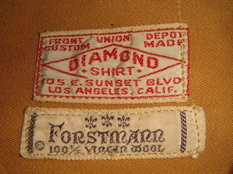 Diamond shirt label , Forstmann wool fabric label