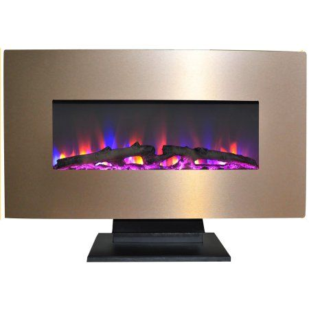 Cambridge 36 Metallic Electric Fireplace Heater With Multi Color Led Flames And Driftwood Log Display Walmart Com Electric Fireplace Electric Fireplace Heater Free Standing Electric Fireplace