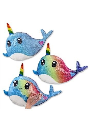 Cute and Sparkly Narwhal Color Changing Sequin Pillow Plush