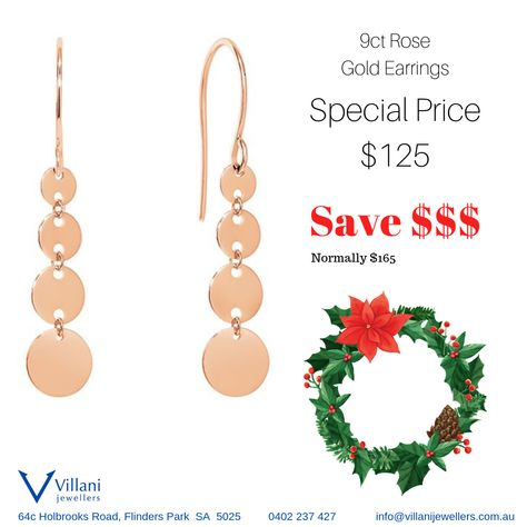 bfef6b0d8e3f In stock now - 9ct Rose Gold Earrings  Christmas2018  PerfectGift   PickUpToday!  SpoilYourself  SpoilHer  Earrings  RoseGold  FineJewellery   Adelaide ...