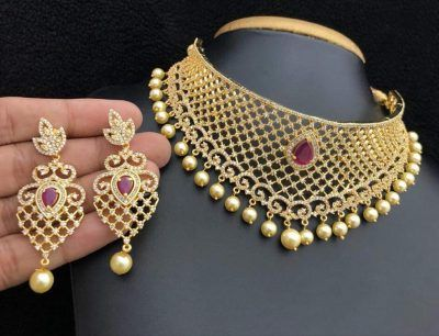1 Gram Gold Jewellery Amazon In Gold Fashion Necklace Gold Jewelry Fashion Choker Necklace Designs