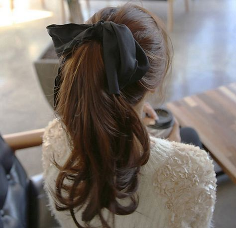 [Miamasvin] Hair Tie with Oversized Ribbon Scarf Hairstyles, Pretty Hairstyles, Hair Inspo, Hair Inspiration, Ribbon Hair Ties, Hair Bow, Aesthetic Hair, Gorgeous Hair, Hair Looks