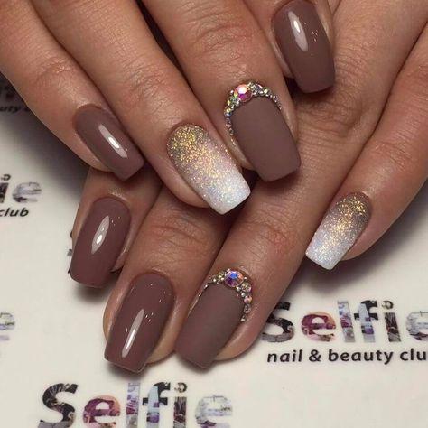 Beautiful nails 2018, Fall nails with rhinestones, Matte nails with glossy pattern, Nails with shiny dust, Novelty of fall nails, October nails, Summer colors for nails, Two color nails