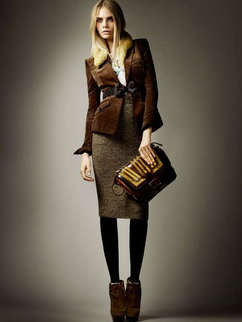 The shoes are stupid and the model looks mad or on a confused drug trip, but I like Burberry Prorsum Autumn/Winter 2012 Coururoy Hacking Jacket and the pencil skirt.