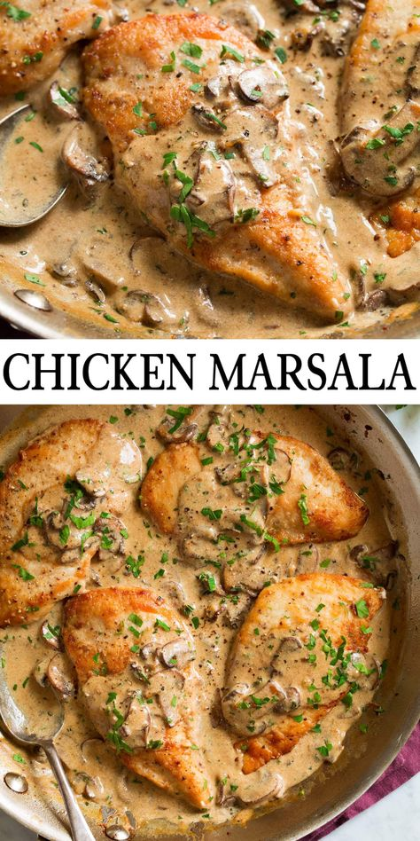 Chicken Marsala Pasta, Recipe For Chicken Marsala, Chicken Marsala Creamy, Chicken Marsala Recipe Without Mushrooms, Stuffed Chicken Marsala, Chicken With Mushrooms, Chicken Marsala Crockpot, Chicken Mushroom Marsala, Baked Chicken Recipes