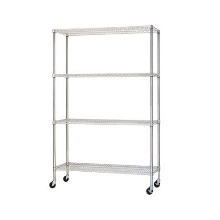 Alera Complete Wire Shelving Unit with Casters, Four-Shelf, 48 inch ...