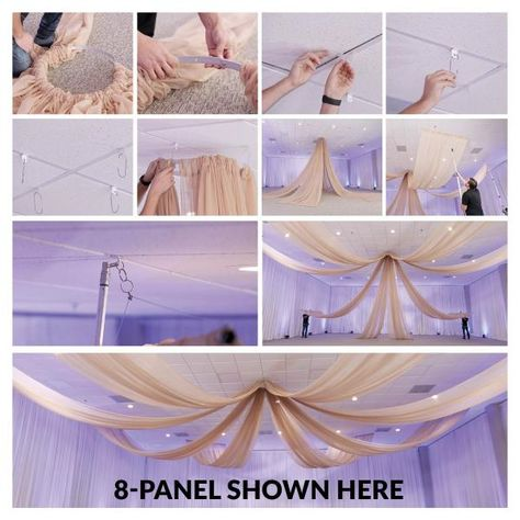 Ceiling Draping Kit - HARDWARE ONLY Our elegant ceiling draping kits are engineered to be lightweight and durable. This kit includes ceiling draping HARDWARE ONLY. Our ceiling draping kits are designed for easy installation . Wedding Ceiling Decorations, Reception Decorations, Ceiling Draping Wedding, Quince Decorations, Reception Ideas, Draping Techniques, Fabric Ceiling, Event Decor Direct, Drapery Designs