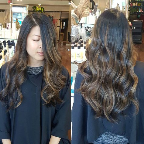 Asian balayage , done without bleach to keep hair looking