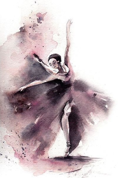 Ballerina Original Watercolor Painting Ballet Dance Art Watercolor Art Greys, Pale Pink One of a Kind Art Work Scale: Medium: top branded watercolor paints on water color cold press paper 140 lb Signed front and back Dated on the back.