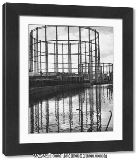 Print of Gasometers beside Regents Canal in London