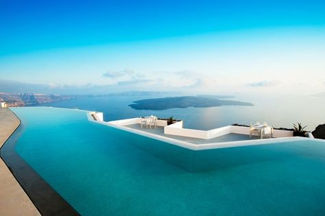 The infinity pool at the Grace Santorini, which overlooks the Greek island's famed caldera view.