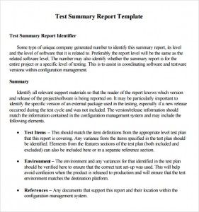 Summary Report Template Quality Statement Writing Word Excel