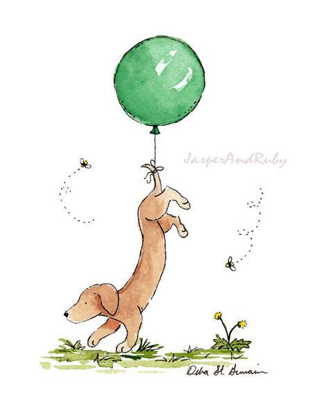Nursery Art Dachshund with Green Balloon 5x7 8x10 by JasperAndRuby