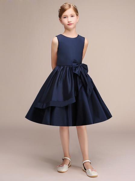 Dark Navy Junior Bridesmaid Dress Knee Length Junior Bridesmaid