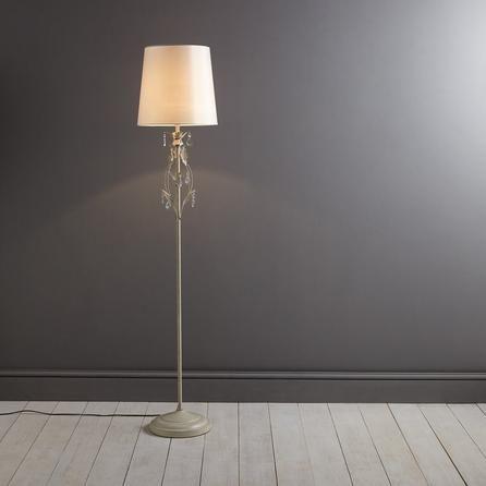 Dunelm Floral Leaf Design Cream Vintage Floor Lamp Crystal Floor