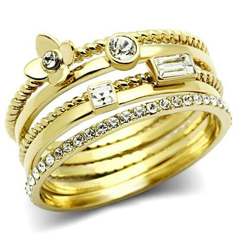Five pcs Set Multiple Crystal Stones Gold EP Ladies Cluster Ring
