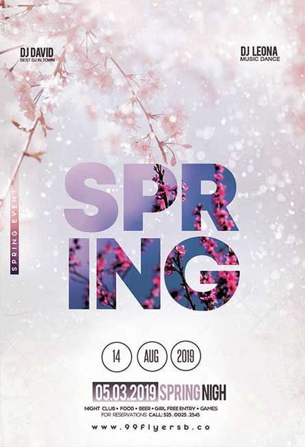 Spring Vibes Free Party Flyer Template Download | FreePSDFlyer