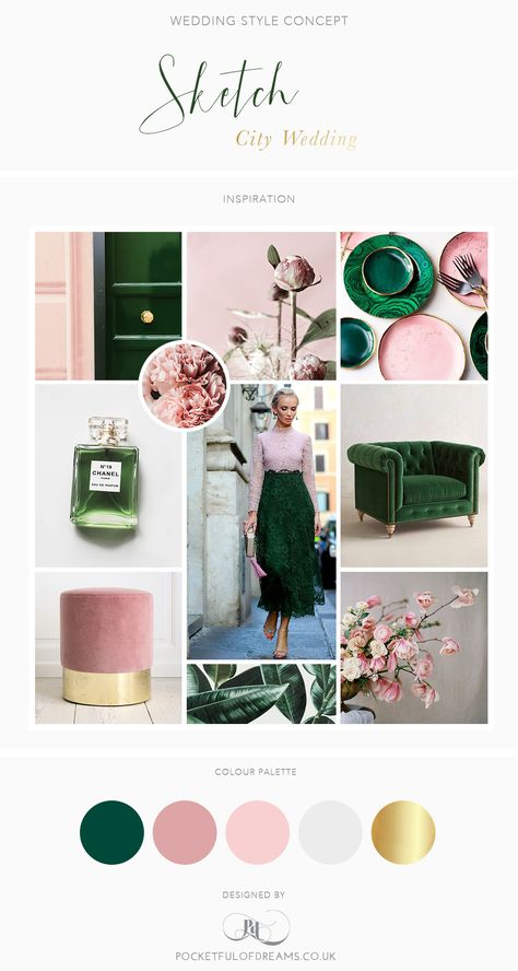 A Sketch London Wedding: Rose Quartz and Malachite Wedding Inspiration Board - color palette for my office.