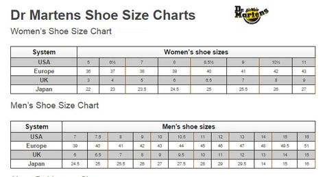 size chart usa: This is dr martens official shoe size charts for women and men